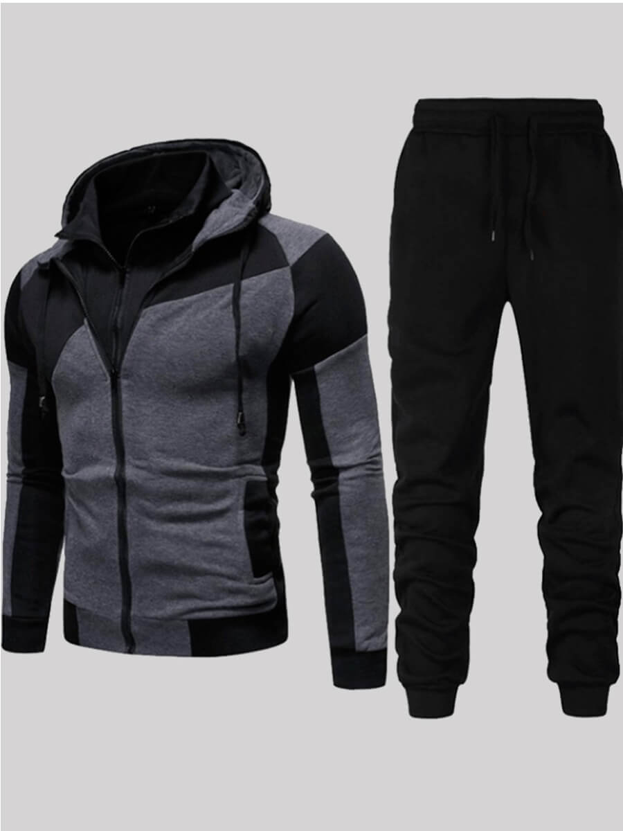 Lovely Sportswear Hooded Collar Patchwork Black Two-piece Pants Set фото
