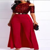 lovely Trendy Patchwork Hollow-out Red One-piece J
