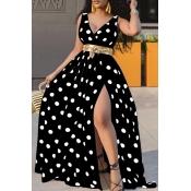 lovely Trendy Deep V Neck Dot Print Black Maxi Dress
