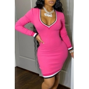 Lovely Casual Deep V Neck Patchwork Pink Mini Dress