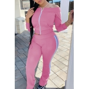 lovely Sportswear Patchwork Pink Two Piece Pants S