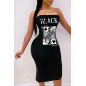 lovely Trendy Dew Shoulder Print Black Knee Length Dress