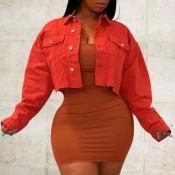 lovely Trendy Buttons Design Orange Denim Jacket