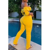 lovely Stylish Dew Shoulder Fold Design Yellow Two