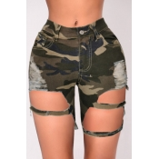 lovely Casual Camo Print Hollow-out Army Green Denim Shorts