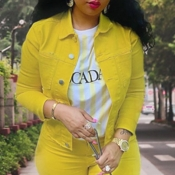 lovely Casual Buttons Design Yellow Denim Jacket