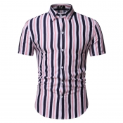 lovely Casual Turndown Collar Striped Pink Shirt