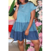 lovely Sweet O Neck Fold Design Blue Knee Length D