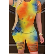 lovely Trendy Tie dye Hollow-out Yellow Two Piece Shorts Set