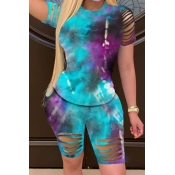 lovely Trendy Tie Dye Hollow-out Skyblue Two Piece Shorts Set