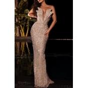 lovely Elegant Dew Shoulder Silver Maxi Dress