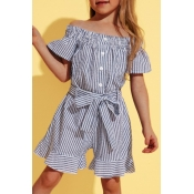 lovely Leisure Striped Baby Blue Girl One-piece Ro