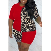 lovely Casual Patchwork Print Red Plus Size Two-pi