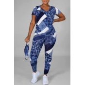 Lovely Leisure O Neck Print Blue Two Piece Pants S