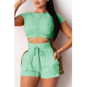 lovely Sportswear Patchwork Green Two Piece Shorts