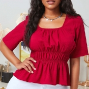 lovely Sweet Fold Design Red Blouse
