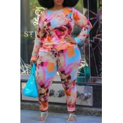 lovely Casual O Neck Print Pink Plus Size Two-piec