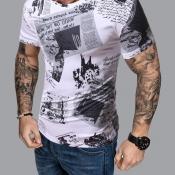 lovely Casual O Neck Letter Print White T-shirt