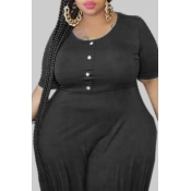 lovely Casual Fold Design Black Mini Plus Size Dre