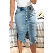 lovely Trendy Buttons Design Baby Blue Denim Skirt