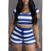 lovely Casual O Neck Striped Blue Two Piece Shorts