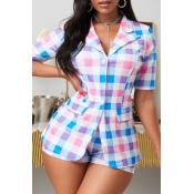 lovely Trendy Grid Print Multicolor Two Piece Shor