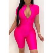 lovely Sportswear Zipper Design Rose Red One-piece