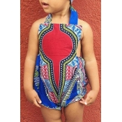 lovely Bohemian Print Blue Girl One-piece Romper