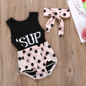 lovely Sweet Letter Print Black Girl One-piece Rom