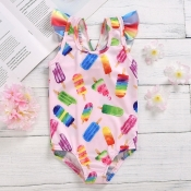 lovely Sweet Print Pink Girl One-piece Romper