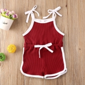 lovely Sportswear Lace-up Wine Red Girl One-piece