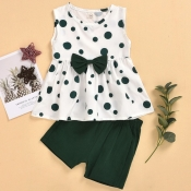 lovely Casual O Neck Dot Print Green Girl Two-piec