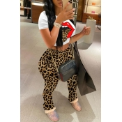 Lovely Casual O Neck Leopard Print Two Piece Pants
