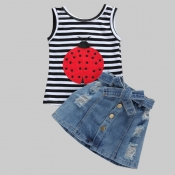 lovely Casual Striped Black Girl Two-piece Skirt S
