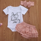 lovely Casual Letter Print White Girl Two-piece Sh