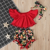 lovely Stylish Floral Print Red Girl Two-piece Sho