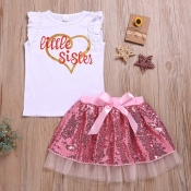 lovely Casual Letter Print White Girl Two-piece Sk