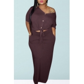 lovely Casual Buttons Design Wine Red Plus Size Tw