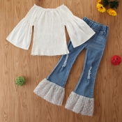 lovely Stylish Patchwork White Girl Two-piece Pant