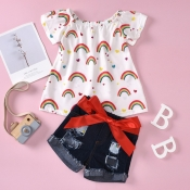 lovely Casual O Neck Print White Girl Two-piece Sh