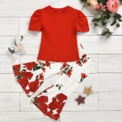 lovely Trendy O Neck Print Red Girl Two-piece Pant