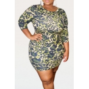lovely Casual O Neck Print Green Mini Plus Size Dr