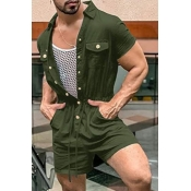 lovely Stylish Buttons Design Army Green One-piece