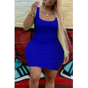 lovely Leisure U Neck Basic Blue Mini Plus Size Dress
