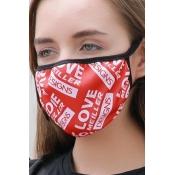 lovely Letter Print Red Face Mask