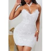 lovely Sexy Lace Hem White Mini Dress