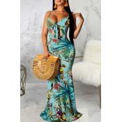 lovely Bohemian Plants Print Baby Blue Maxi Dress