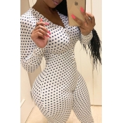 lovely Trendy Dot Print White One-piece Jumpsuit