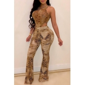 lovely Stylish Print Hollow-out Brown One-piece Ju