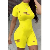 lovely Sexy Hollow-out Yellow One-piece Romper